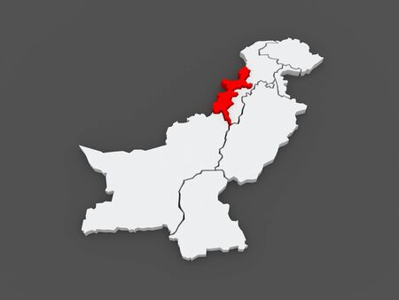 federally: Map of Federally Administered Tribal Areas of Peshawar. Pakistan. 3d