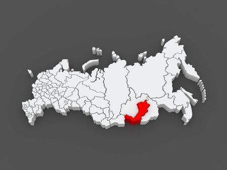 federation: Map of the Russian Federation. Republic of Buryatia. 3d