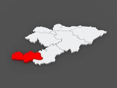 kyrgyzstan: Map of Batken. Kyrgyzstan. 3d Stock Photo