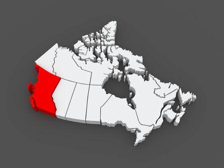 british columbia: Map of British Columbia. Canada. 3d