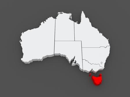 tasmania: Map of Tasmania. Australia. 3d