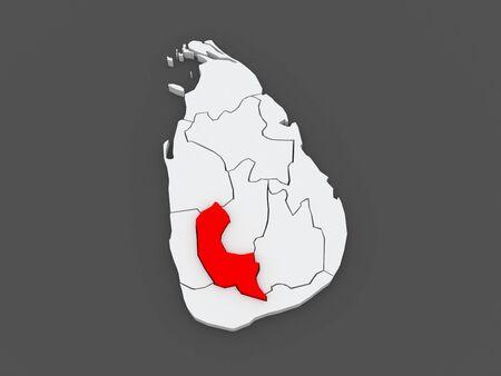 srilanka: Map of Sabaragamuwa. Sri Lanka. 3d Stock Photo