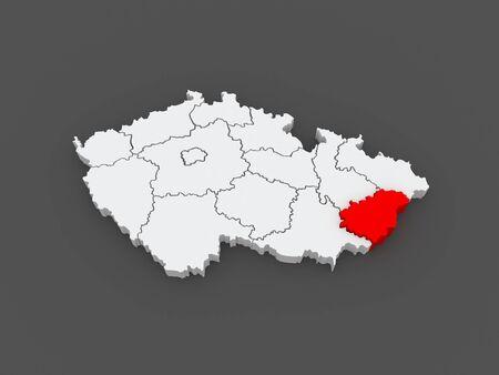 Map of Zlin Region. Czech Republic. 3d photo