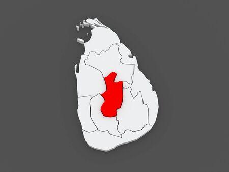lanka: Map of Central. Sri Lanka. 3d Stock Photo