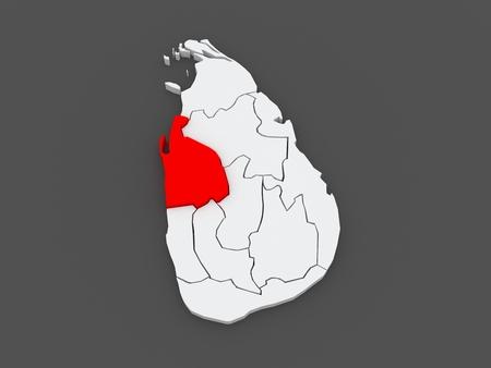 srilanka: Map of North West. Sri Lanka. 3d
