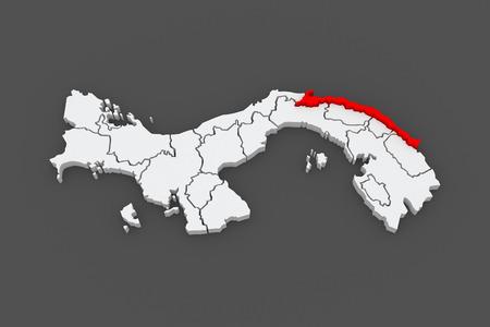 yala: Map of Guna Yala. Panama. 3d