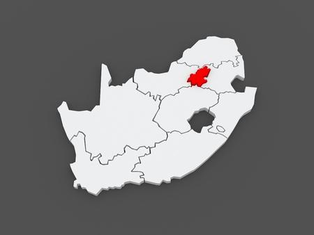 gauteng: Map of Gauteng (Johannesburg). South Africa. 3d