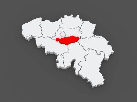 walloon: Map of Walloon Brabant. Belgium. 3d