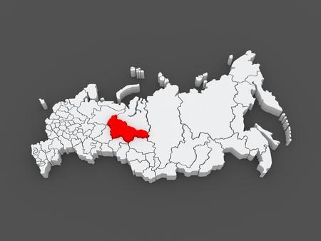 federation: Map of the Russian Federation. Khanty-Mansi Autonomous Okrug - Yugra. 3d Stock Photo