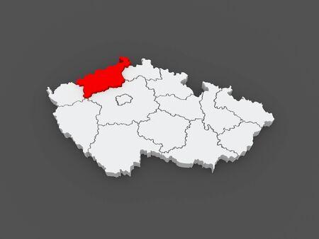 Map of Usti region. Czech Republic. 3d photo
