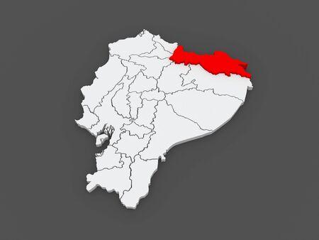 loja: Map of Sucumbios. Ecuador. 3d