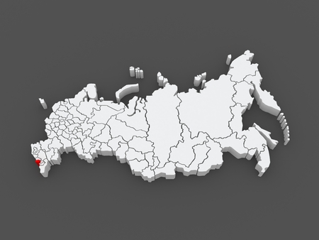 federation: Map of the Russian Federation. Republic of North Ossetia - Alania. 3d
