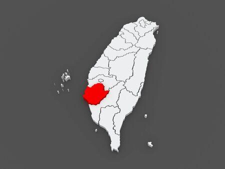 Map of Tainan City. Taiwan. 3d
