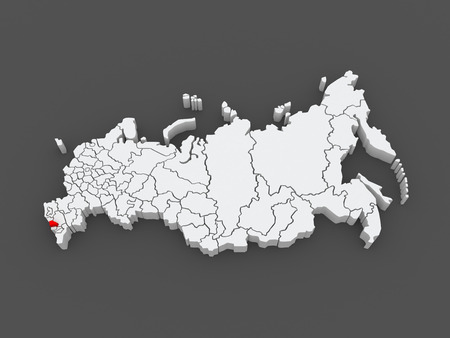 federation: Map of the Russian Federation. Republic of Kabardino-Balkaria. 3d