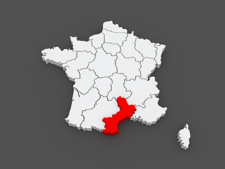 roussillon: Map of Languedoc - Roussillon. France. 3d