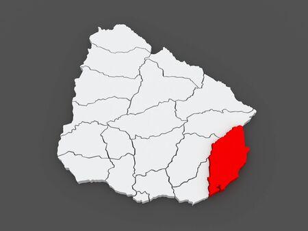 Map of Rocha. Uruguay. 3d