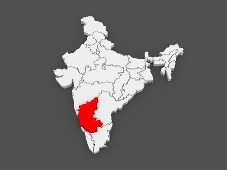 india 3d: Map of Karnataka. India. 3d Stock Photo