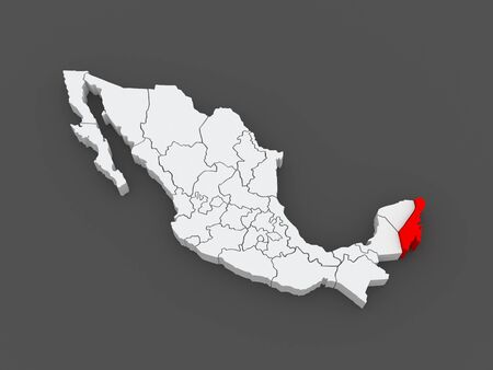 Map of Quintana Roo. Mexico. 3d