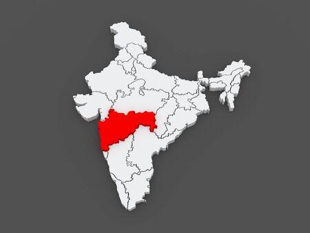 india 3d: Map of Maharashtra. India. 3d
