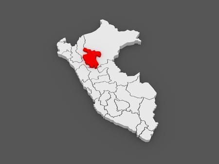 martin: Map of San Martin. Peru. 3d Stock Photo