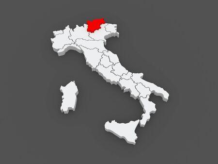 alto: Map of Trentino - Alto Adige. Italy. 3d Stock Photo