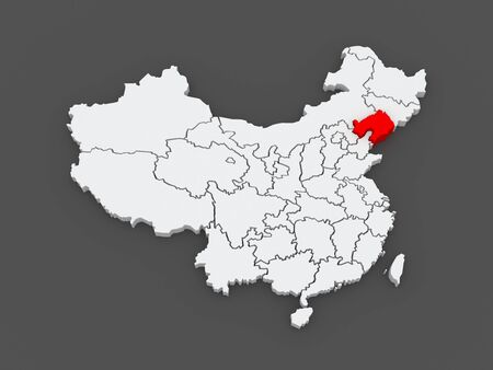 Map of Liaoning. China. 3d photo