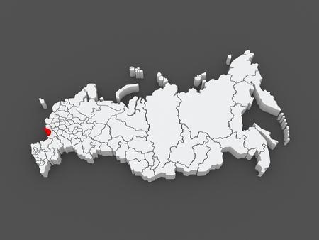 federation: Map of the Russian Federation. Belgorod region. 3d