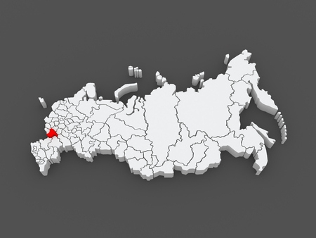 voronezh: Map of the Russian Federation. Voronezh region. 3d Stock Photo