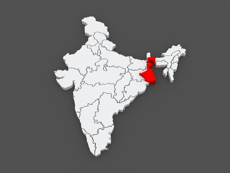 Map of West Bengal. India. 3d photo