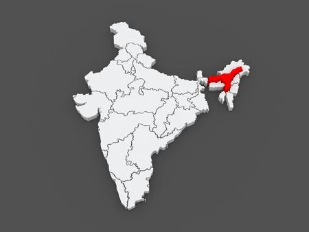 india 3d: Map of Assam. India. 3d Stock Photo