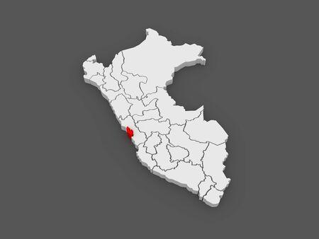 lima province: Map of Lima Metropolitana. Peru. 3d