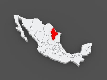 leon: Map of Nuevo Leon. Mexico. 3d Stock Photo