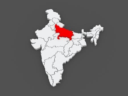 india 3d: Map of Uttar Pradesh. India. 3d