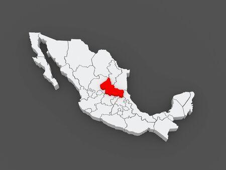 luis: Map of San Luis Potosi. Mexico. 3d Stock Photo