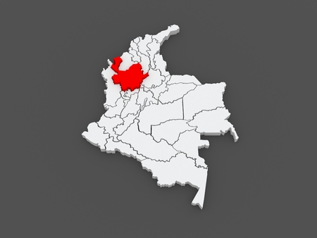antioquia: Map of Antioquia. Colombia. 3d Stock Photo