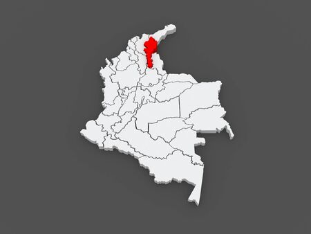Map of Cesar. Colombia. 3d