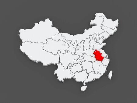anhui: Map of Anhui. China. 3d