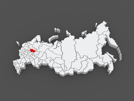 federation: Map of the Russian Federation. Kostroma region. 3d