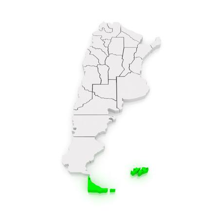 Map of Tierra del Fuego, Antarctica and South Atlantic Islands. Argentina. 3d Stock Photo