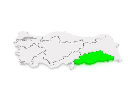 anatolia: Map of Southeastern Anatolia. Turkey.   3d