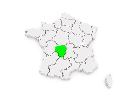 limousin: Map of Limousin. France. 3d Stock Photo