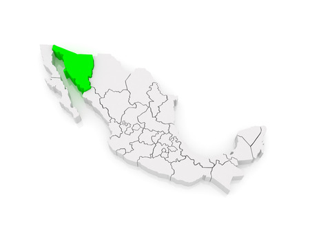 sonora: Map of Sonora. Mexico. 3d