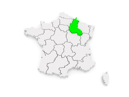 champagne region: Map of Champagne - Ardennes. France. 3d