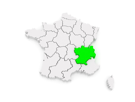 Alpes: Map of Rhone - Alpes. France. 3d Stock Photo