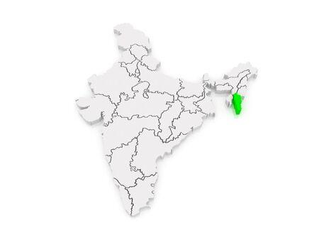 india 3d: Map of Mizoram. India. 3d
