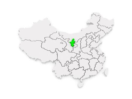 Map of Ningxia Hui Autonomous Region. China. 3d photo