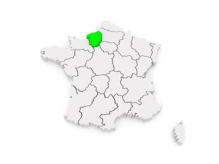 normandy: Map of Upper Normandy. France. 3d