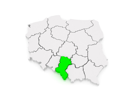 Map of Upper Silesia. Poland. 3d