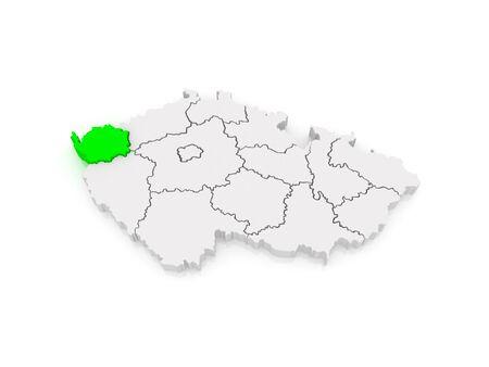 vary: Map of Karlovy Vary Region. Czech Republic. 3d