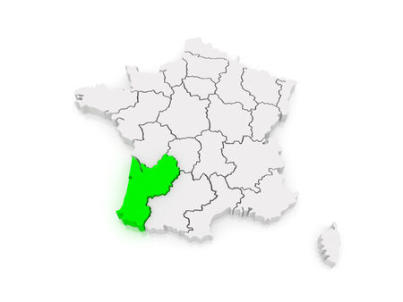 aquitaine: Map of Aquitaine (region). France. 3d